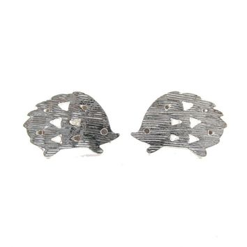 Hedgehog Silhouette Animal Shaped Stud Earrings in Silver | DOTOLY