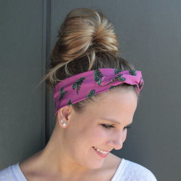 Magenta Boho Feather Twist Head Scarf Dolly Bow Wire Headband Bun Wrap