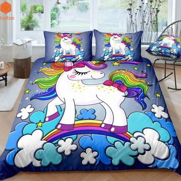 3Pcs 3D Cute  Cartoon Rainbow Unicorn Bedding Set Pillowcases Duvet Cover Quilt Cover For Kids Queen King Sizes Bedspreads Sj234
