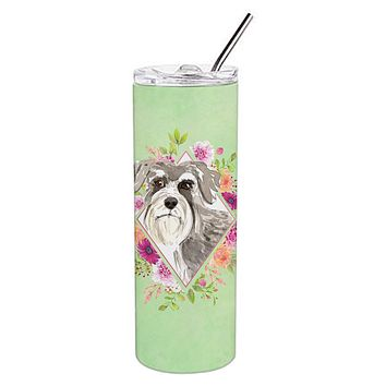 Schnauzer #1 Green Flowers Double Walled Stainless Steel 20 oz Skinny Tumbler CK4375TBL20