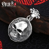 New style 925 silver sterling  punk man Pendant circular skull pendant necklace fashion Jewelry