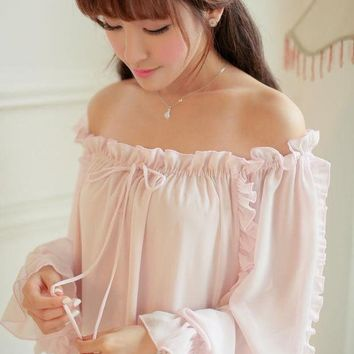 CREYONHS Free Shipping Chiffon Nightgown Women's Long Pijamas Two Color Princess Sleepwear Pink and White Nightshirt Long Robe