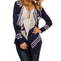 Sale-purple Tribal Easeful Cardigan