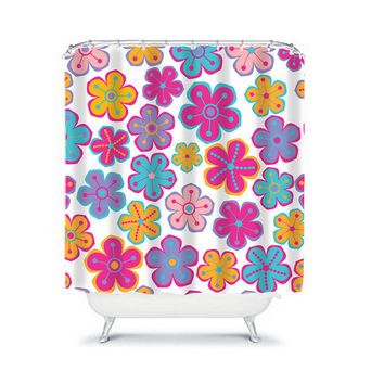 Shower Curtain Child Girl Flower Pink Purple Turquoise Floral Swirl Bathroom Bath Polyester Made in the USA