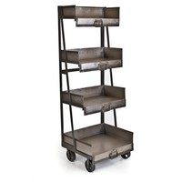 Iron 4 Shelf Industrial Bookcase Antique Nickel - Living