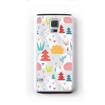 Scandinavian modern trees in red blue on gray for Galaxy S5