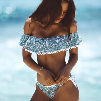 Fashion Floral Print Strapless Beach Bikini Set Swimsuit Swimwear
