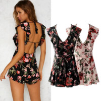 New Summer Fashion Flower Print Show Thin Sexy Backless Romper