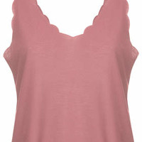 Scallop Crop Vest - Rose