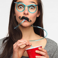 Mustache Drinking Glasses Straw