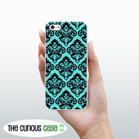 iPhone 5 / 5S Case Teal Blue Aqua Damask  / Hard Case For iPhone 5. Plastic or Rubber Trim Romantic Shabby Chic