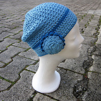 Blue hat, Hat with flower,Flower beanie,Crochet beanie hat,Women beanie,Blue crochet beanie,valentines gift,Spring beanie,Blue fall beanie
