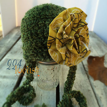 Baby Hat size 0-12 mos, Green, Green Baby Hat, Fanciful Fall 2015 Collection, Baby Hat, Newborn Pictures, Photo Prop, Photography Prop
