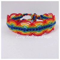 Rainbow Pride Macrame Knotted Friendship Bracelet Wristband, Armcandy, Stackable Bracelet