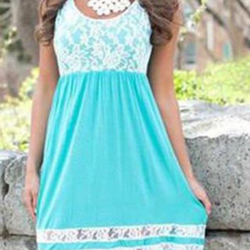 Blue Lace Sleeveless Mini Dress