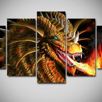 Spit Fire Dragon 5pc Canvas