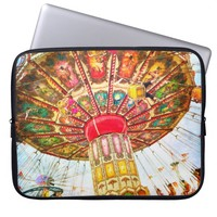 Vintage carnival swing ride photo laptop sleeve