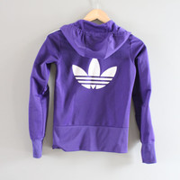 Adidas Hoodie Trefoil Big Logo Purple Hooded Sweatshirt Zip Up Hoodie Adidas Jacket Vintage Minimalist 90s Sweater Size XS - S