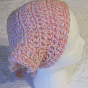 Crochet Head Kerchief or Bandana Adult Women's Sizes in Pink