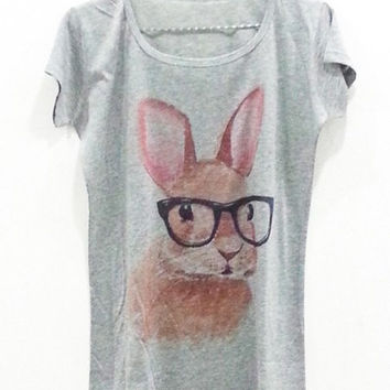 Rabbit Printed Grey Tee
