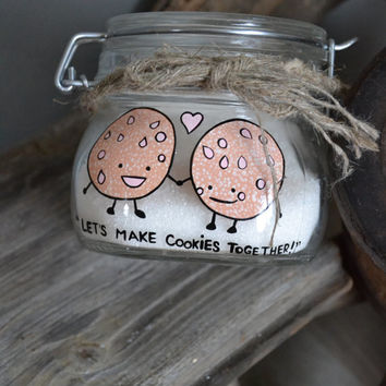 Hand Painted Storage Glass Jar wedding favor or Valentines day gift Lets make cookies together