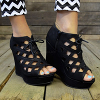 Locked Out Caged Lace Up Black Suede Platform Wedges