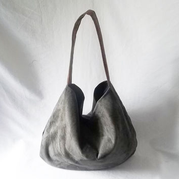 Hobo bag  Charcoal Grey Ultra Suede Hobo handbag  by ACAmour