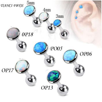 TianciFBYJS 1Pcs Tragus Earring Nature Opal Stone 316L stainless Labret Lip Ear Piercing Tragus Helix Cartilage Body Jewelry