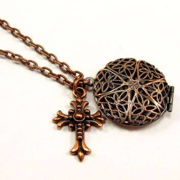 Aromatherapy Necklace - Beautiful Filigree Locket and Cross in Antique Copper