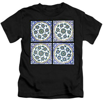 An Ottoman Iznik Style Floral Design Pottery Polychrome, By Adam Asar, No 14d - Kids T-Shirt