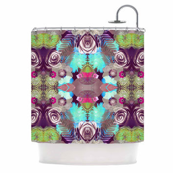"Vasare Nar ""Kaleidoscopic Boho"" Magenta Multicolor Shower Curtain"