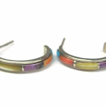 Vintage 90s Southwestern Sterling Inlay Hoop Earrings
