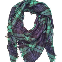 Green and Navy Plaid Blanket Scarf