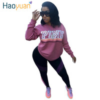 HAOYUAN  Women Hoodies VS Love Pink Letter Kawaii Sweatshirt Long Sleeve Pullovers Polerones Sudaderas Mujer Harajuku Tops