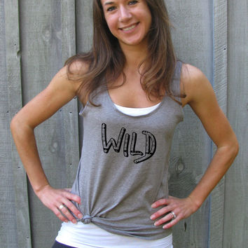 Womens Swing Tank, Tank Top, Yoga Shirt, Yoga Clothes, Wild Shirt, Wild and Free, Young and Wild, Tribal, Wild