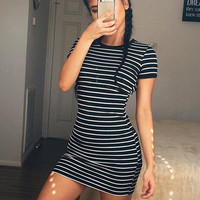 Striped Fitted Shirt Dress