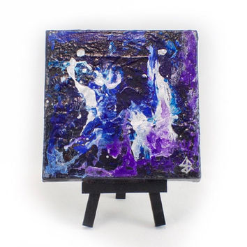 Blue Abstract Art, Small Painting, Mini Acrylic Artwork, Office Art, Home Decor, Art for Kitchen, Mini Easel, Coworker Gift, New Home Gift
