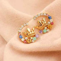 Cute Small Fashion Sparkling Multiple Color Crystal Crown Stud Earrings