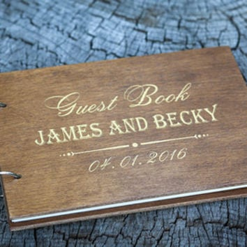 Wedding Guest book. Guestbook. Heart. Pages with names and wedding date