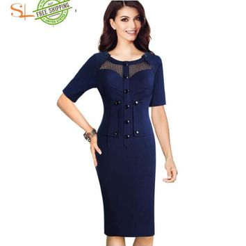 Elegant See Through Mesh Button Vintage Wear To Work Office dress