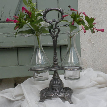 vintage art nouveau condiment set, re-purposed condiment set, French vintage cruet set, shabby chic, French dining, French glass vase