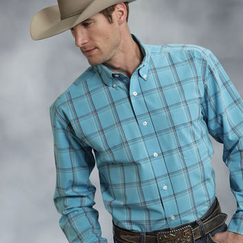 Roper Mens 8755 Mossy Plaid Amarillo Turquoise Sea Long Sleeve Shirt Button Closure - 1 Pocket
