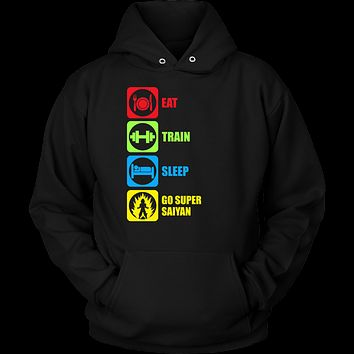 Super Saiyan - Eat, Train, Sleep, Go Super Saiyan 2 - Unisex Hoodie T Shirt - TL01214HO