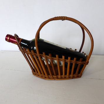 Vintage French, Cane Wine Cradle, Pouring Basket