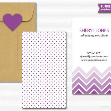 Ombre Chevron Printable Business Cards Calling Cards Mommy Cards Choose Your Colors Digital File PDF Customized Personalized