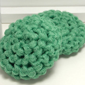 Reusable Dish Scrubbers - Green Scouring Pads - Handmade Scrubbies - Set of 2