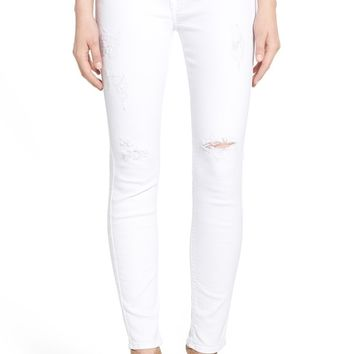 7 For All Mankind® Destroyed Ankle Skinny Jeans (Clean White) | Nordstrom