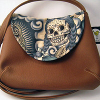Sugar Skull Fabric Purse in Alexander Henry Contigo Blue Tattoo, Brown Faux Leather Cross Body Purse