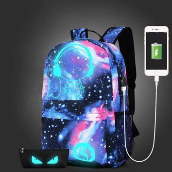 Teen Girls Galaxy School Bag Noctilucent Backpack Collection Canvas USB Charger Anti-Theft Lock
