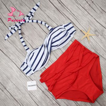 Pacento Striped Solid Bikini Women Red High Waisted Swimsuit Large Size Swimwear Female Bather Cross Strappy Bathing Suit Plavky